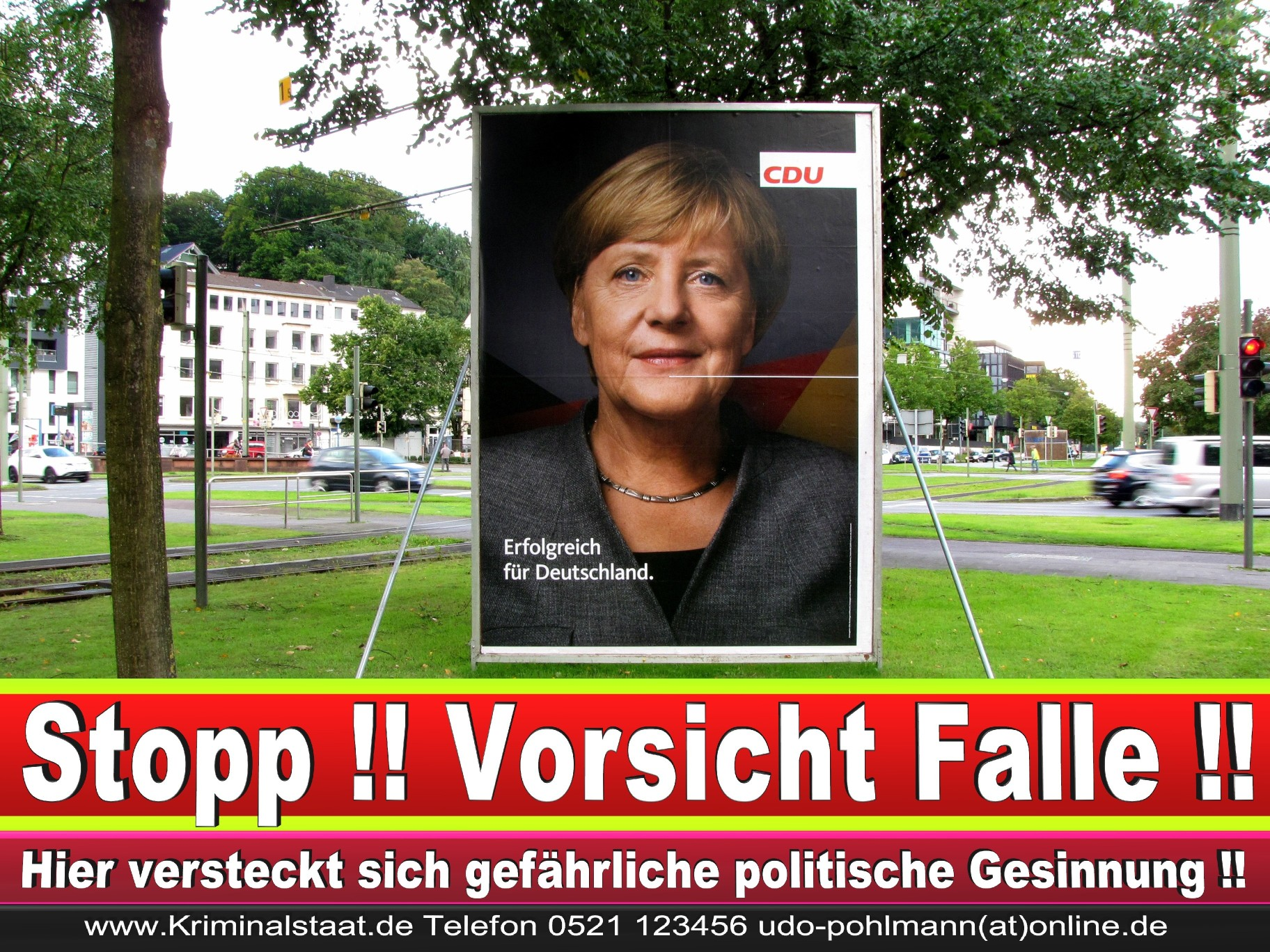 Angela Merkel Wahlplakat Wahlwerbung Bielefeld Volksverhetzung Durch Religion 3